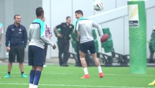 A GIF Of Cristiano Ronaldo Throwing A Football With Terrible Form