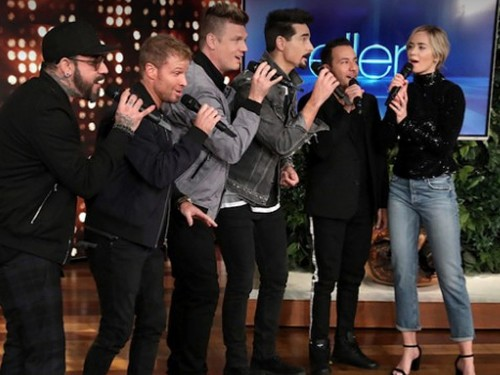 Watch Emily Blunt sing 'I Want It That Way' with the Backstreet Boys