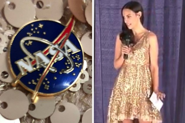 """A Woman Delivered A Speech To Students At NASA Wearing A Sequined Dress Because Girls Wanted To See A """"Sparkly"""" Scientist"""