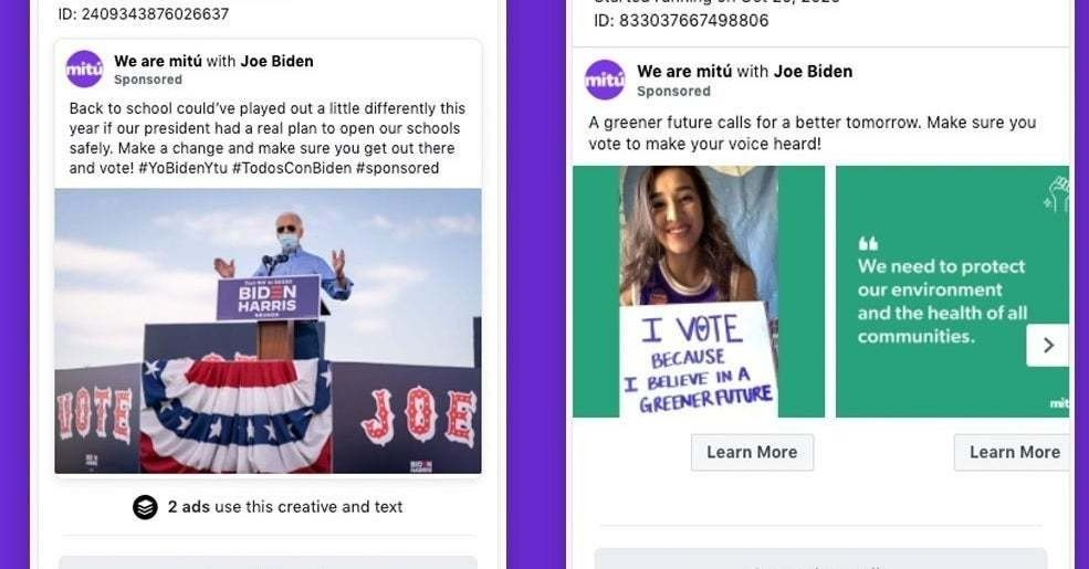 Facebook Promised To Label Political Ads, But Ads For Biden, The Daily Wire, And Interest Groups Are Slipping Through