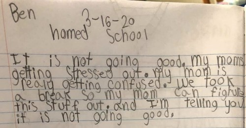 This Kid's Journal Entry About His Mom's Homeschooling Perfectly Sums Up All Parents Who Are Trying To Be Teachers Right Now