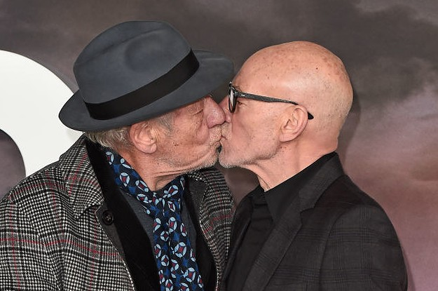 These Pictures Of Sir Patrick Stewart And Sir Ian McKellen Kissing On The Red Carpet Are Just Really Nice To See