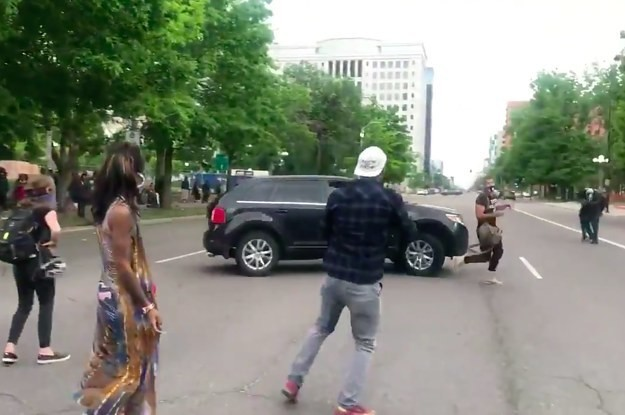 A Driver Swerved And Appeared To Try To Run A Man Over At A George Floyd Protest In Denver