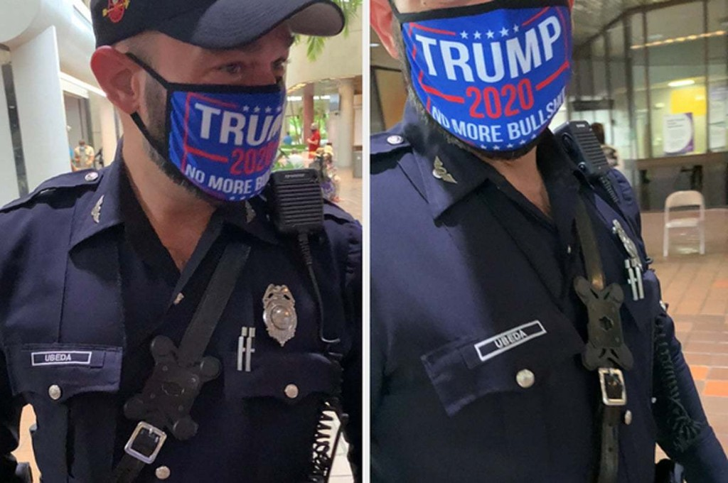 A Miami Cop Is In Trouble For Wearing A Pro-Trump Mask Near An Early Voting Site