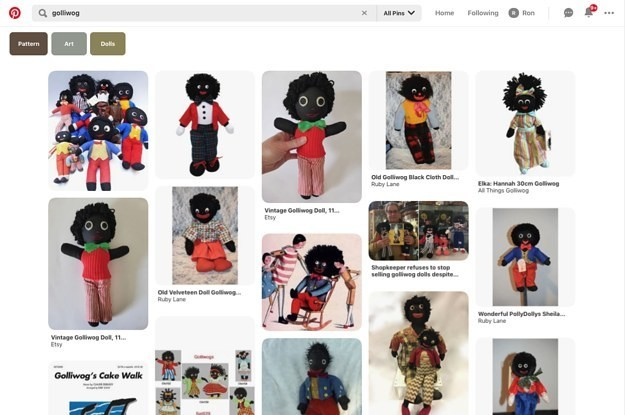 Pinterest Will Stop Promoting Posts About Golliwog Dolls