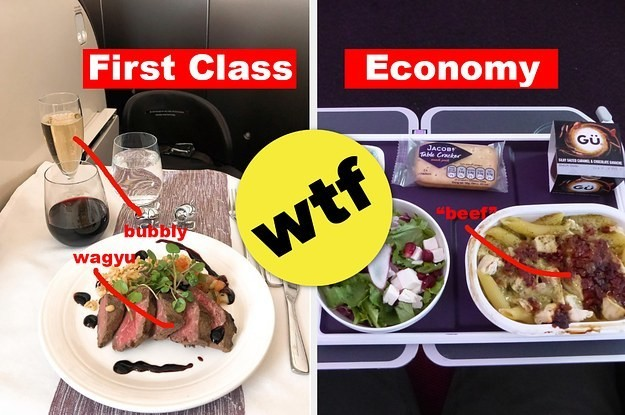 Here's What Eating In Economy Vs. First Class Looks Like On 19 Airlines