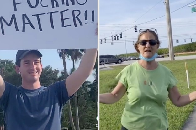 An Angry Woman And Cops Showed Up At One Man's Protest. So Days Later, Dozens More Protesters Turned Out.