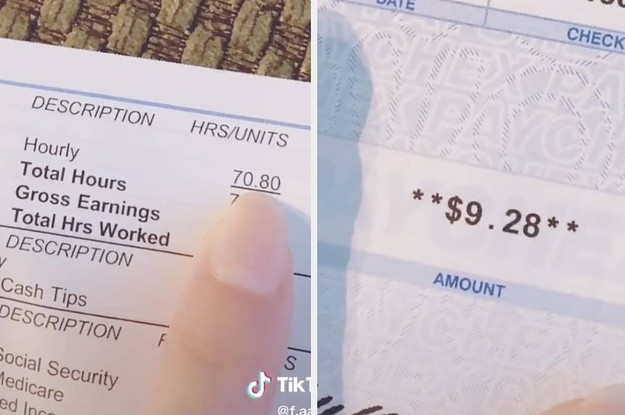 This Mom Shared A TikTok Of Her $9 Paycheck After Working Over 70 Hours
