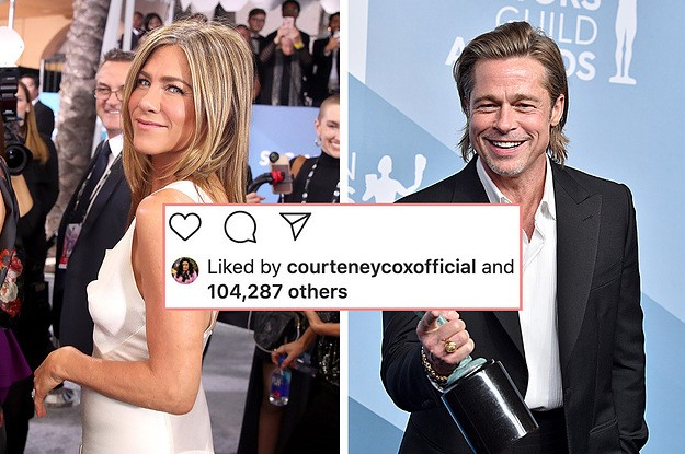 Courteney Cox Liked Every Single Picture Of Brad Pitt And Jennifer Aniston Reuniting And It's The Biggest Mood