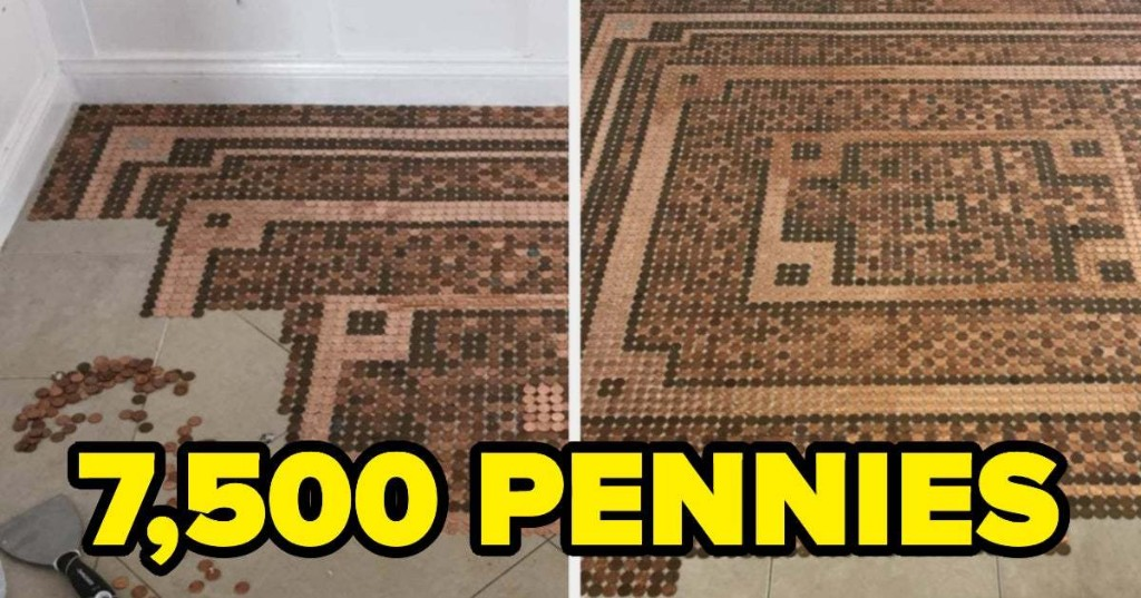 This Woman Made An Entire Floor With 7,500 Pennies And It's Completely Mesmerizing