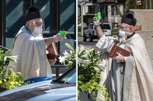 This Priest Squirted Holy Water At Churchgoers At A Socially Distanced Service And He's Now A Meme
