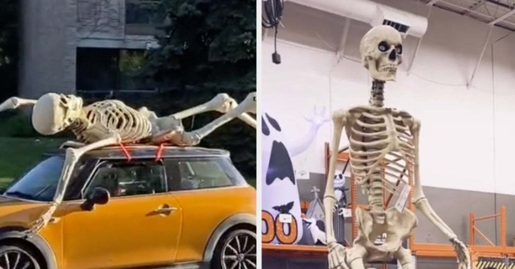 The Hottest Halloween Decoration This Year Is A 12-Foot Skeleton From Home Depot, And I'd Expect Nothing Less From 2020 At This Point