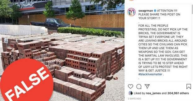 People Say Pallets Of Bricks Are Showing Up Near Protests All Over The US. The Truth Is More Complicated.