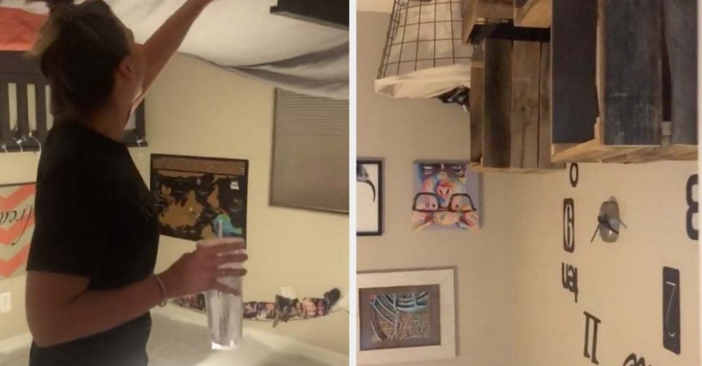 This Girl Turned Her Roommate's Bedroom Upside Down For A Prank And It Is Truly Wild To See