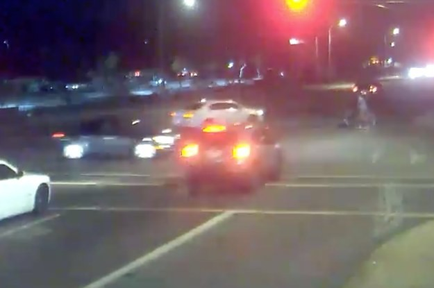 A Car Slammed Into A Suspected Drunk Driver Running A Red Light, Protecting A Couple Pushing A Stroller