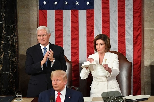 Trump Ignored Nancy Pelosi's Handshake At The State Of The Union. Then She Tore Up A Copy Of His Speech.
