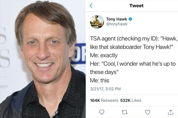 Tony Hawk Tweets Every Single Time A Fan Doesn't Recognize Him And It's Too Perfect