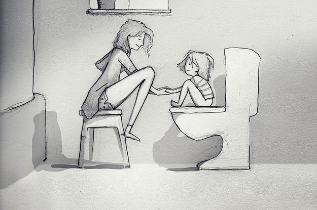 This Man's Drawings Of Life With His Wife And Kids Are So Sweet, You Might Tear Up