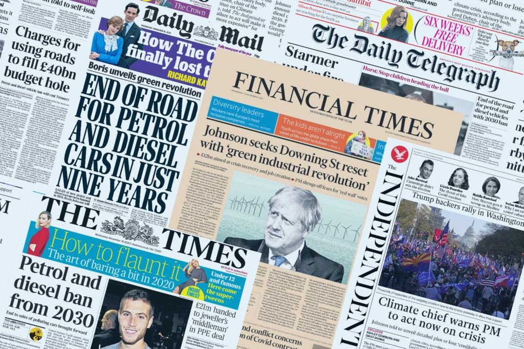 Media reaction: Boris Johnson's '10-point' net-zero plan for climate change
