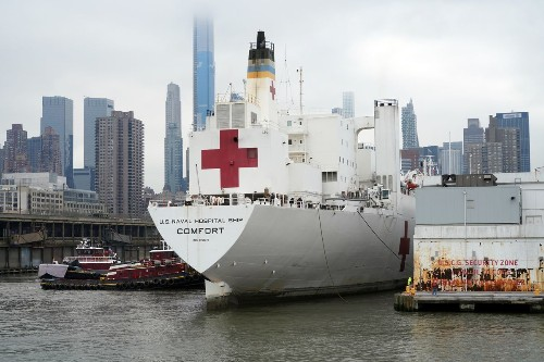 The Navy hospital ship supposed to aid a struggling New York floats largely unused and idle