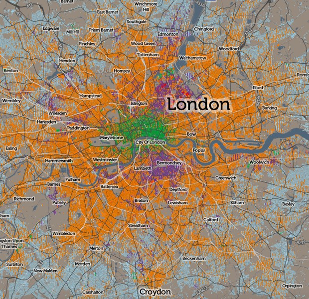 An Incredibly Detailed Map of How Londoners Commute