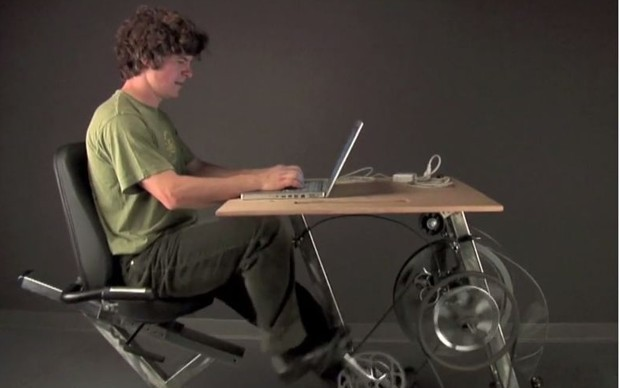 Generate Your Own Electricity by Pedaling This Bicycle Desk
