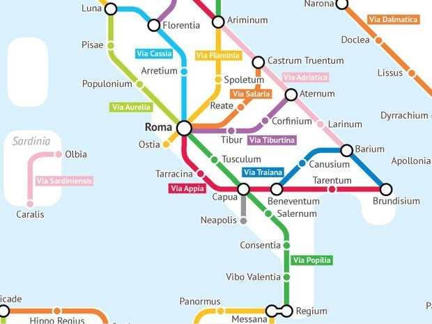 A Fantasy Subway Map of Ancient Roman Roads