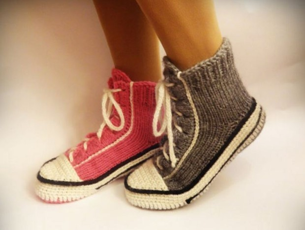 Relax in Old-School Style With These Knitted Converse Slippers