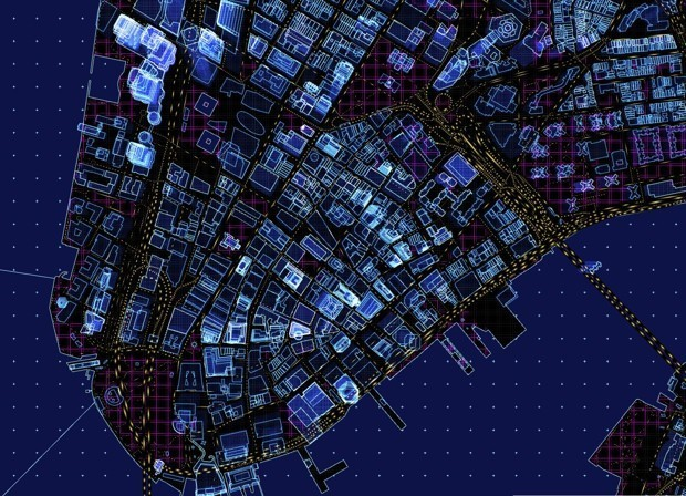 A Mesmerizing, Futuristic Map With Animated Traffic and Glowing Buildings