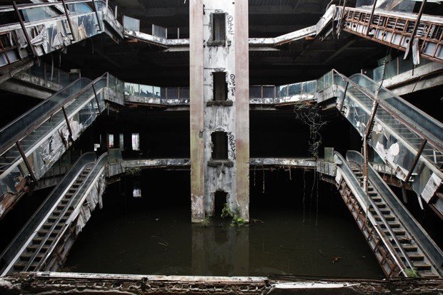 Removing Fish From a Surreal Abandoned Shopping Mall