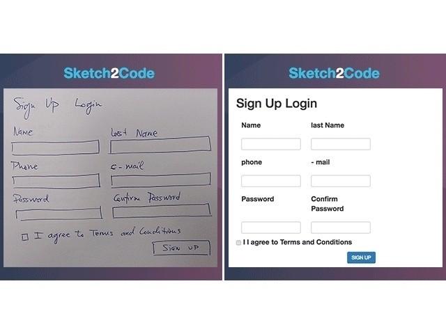 マイクロソフト、手描きスケッチからHTMLコードを自動生成する「Sketch2Code」