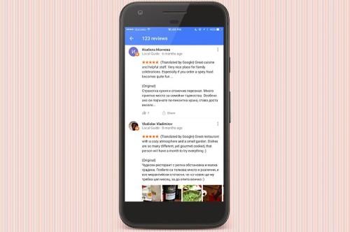Google Maps ahora traduce las reseñas de restaurantes de forma automática