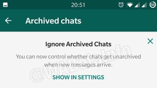 WhatsApp tendrá un modo para ignorar chats archivados: reporte