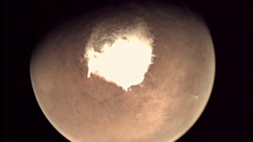El helado polo sur de Marte se luce en una nueva foto