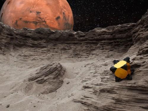 Un robot erizo, explorador de cometas, viaja por el espacio