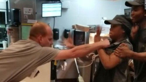 A man attacked a McDonald's employee over a straw and she fought back