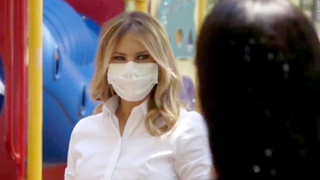 First lady Melania Trump posts video of herself wearing mask during visit to women's center