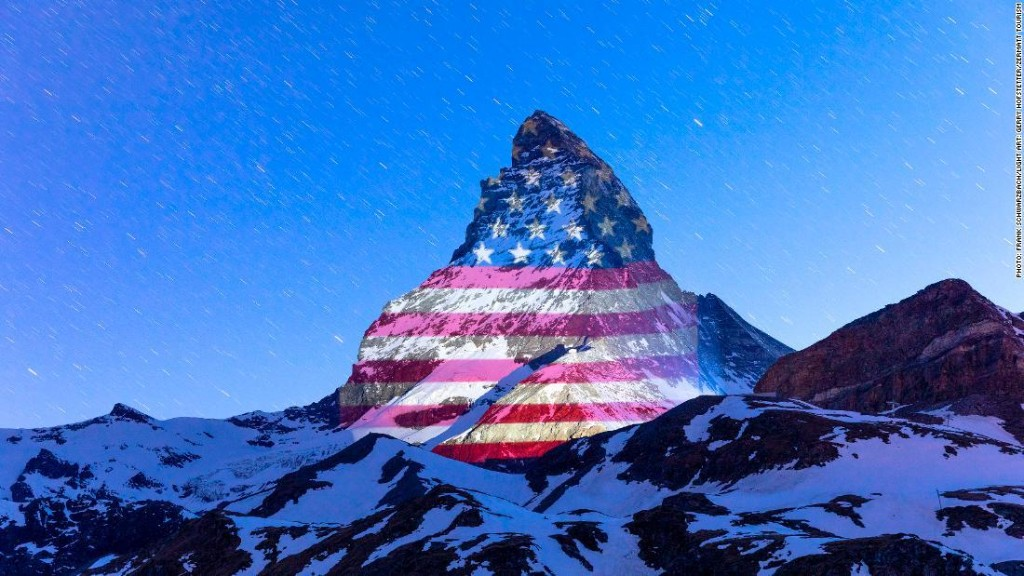 Matterhorn in Swiss Alps lit up with American flag, messages of hope during coronavirus crisis
