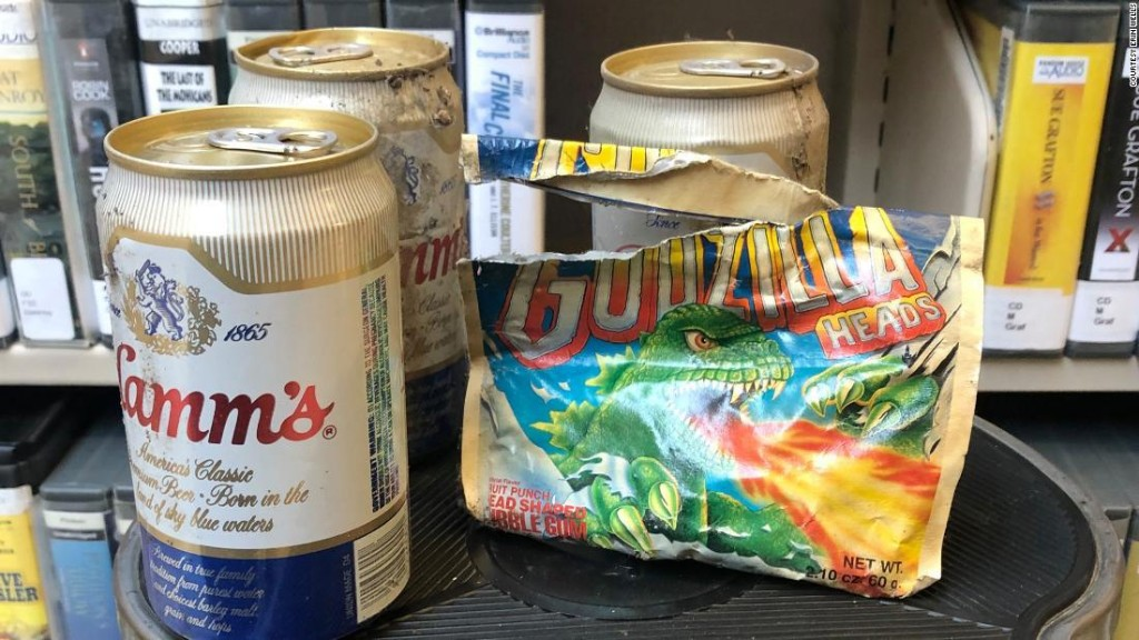 A stash of beer and gum that dates back to the 1980s was discovered hidden behind the shelves of a Washington library