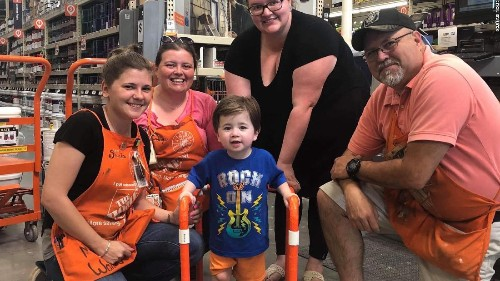 A 2-year-old boy was having trouble getting around. So employees at a Home Depot built him a walker