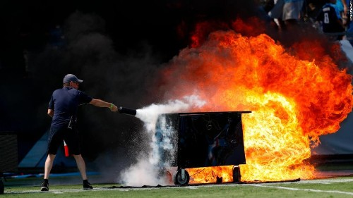 The Tennessee Titans left the field on fire in their home opener. No, actually -- the field was on fire