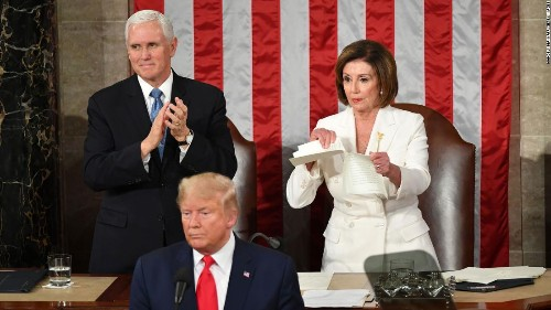 Nancy Pelosi ripping Donald Trump's speech may not have been planned, but it was effective