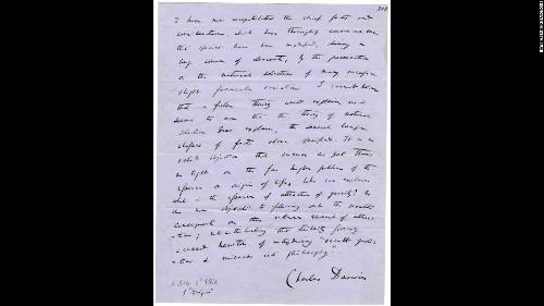 Handwritten page of Darwin's 'Origin' up for grabs