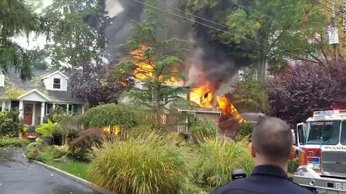A plane crashed into a home in suburban New Jersey
