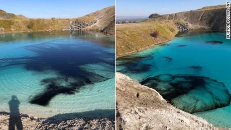 Police in England dye a 'Blue Lagoon' black to deter visitors during coronavirus lockdown