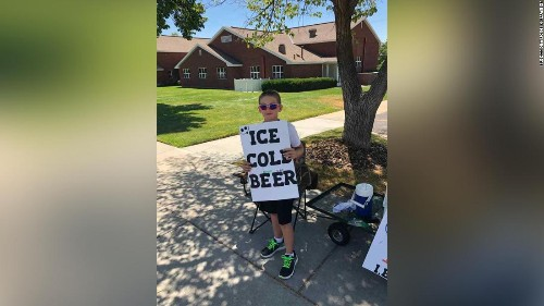 An 11-year-old's clever 'ice cold beer' sign sure got the cops' attention