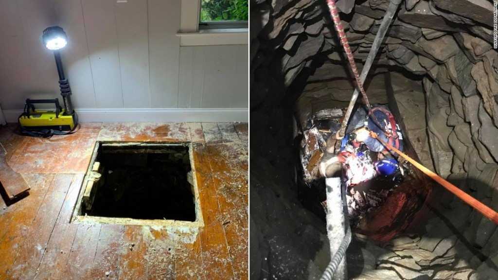 Firefighters rescue a man who fell nearly 30 feet into a well from inside a home