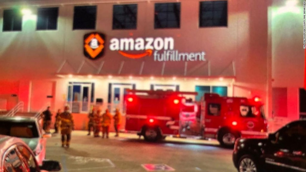 Six people sent to hospital after unknown smell prompts evacuation of Amazon building in California