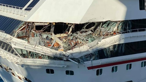 Watch two Carnival cruise ships collide