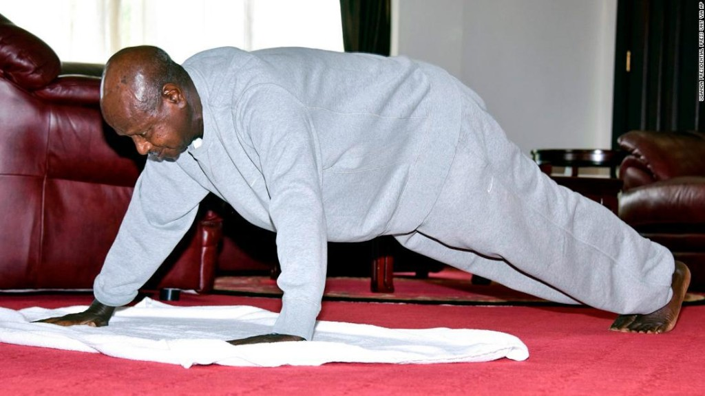 Ugandan President Yoweri Museveni, 75, releases indoor workout video to keep citizens at home
